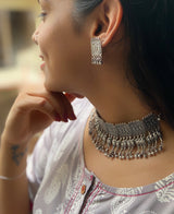 Sterling Silver Parrot Choker With Earring