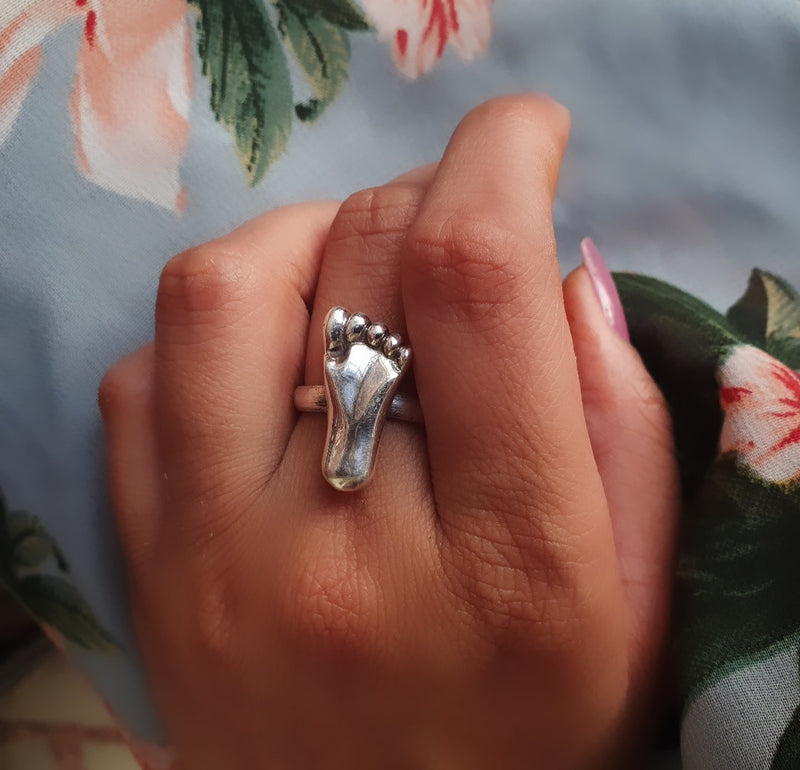 Sterling Silver footprint Ring