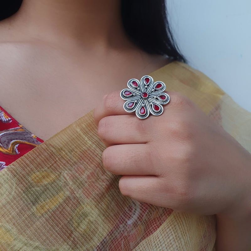 Sterling Silver Stone Flower Ring Ruby