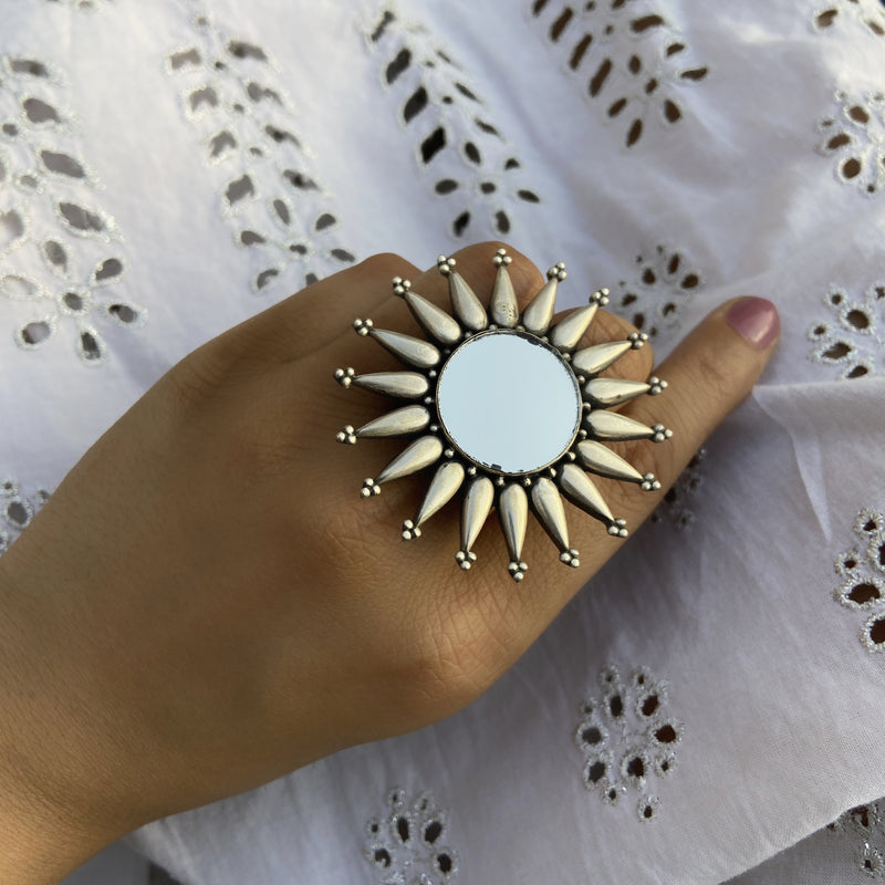 Sterling Silver Spike Mirror Statement Ring