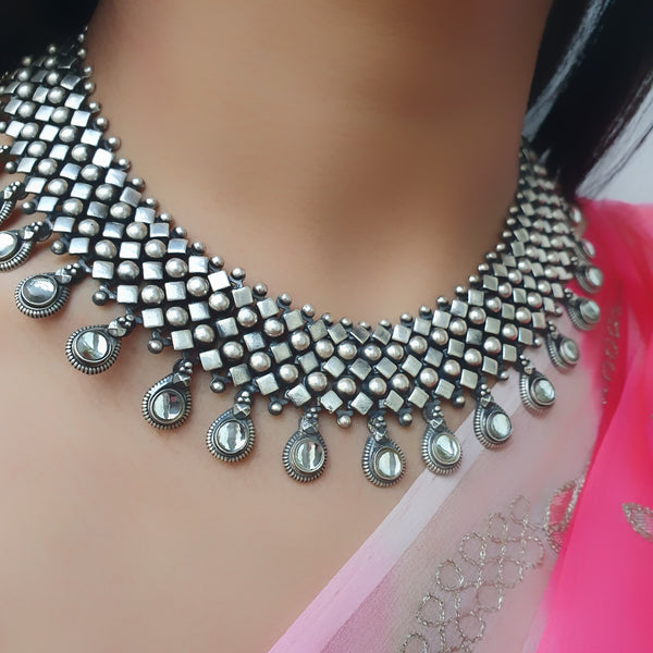 Sterling silver Chatai Kundan Necklace