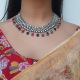 Sterling Silver Chatai Coral Black Necklace