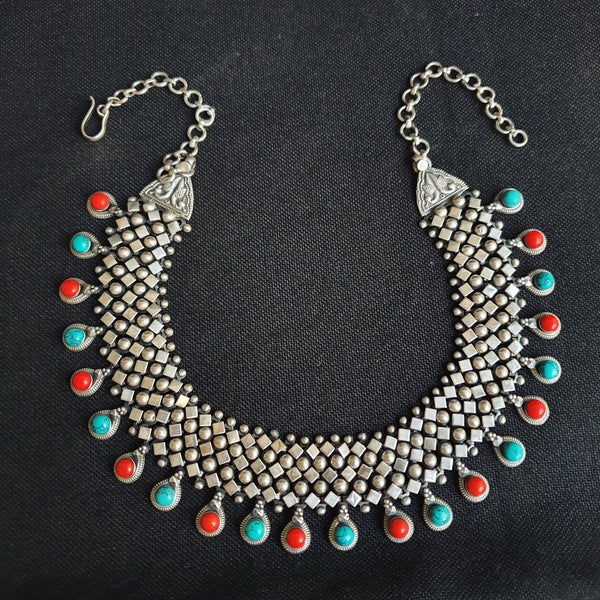 Sterling Silver Chatai Coral Turquiose Necklace