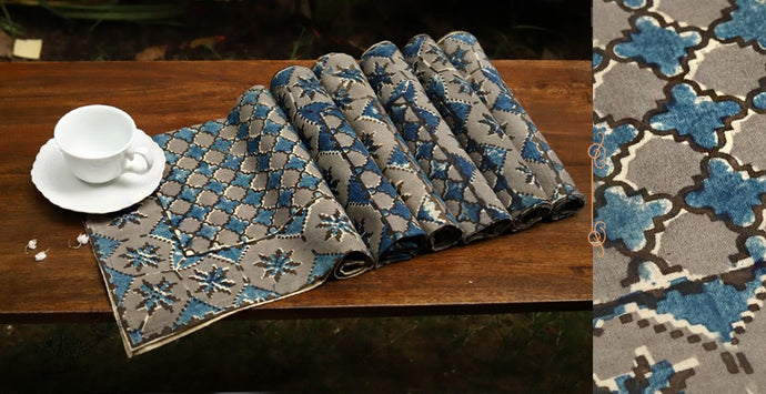 Indigo Jaal Kalamkari Cotton Table Mat Set of 6