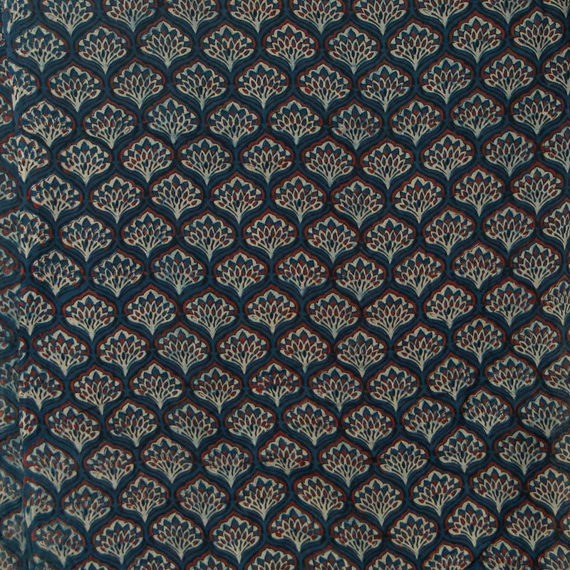 Blue Ajrakh Mul Cotton Natural Dyed Fabric