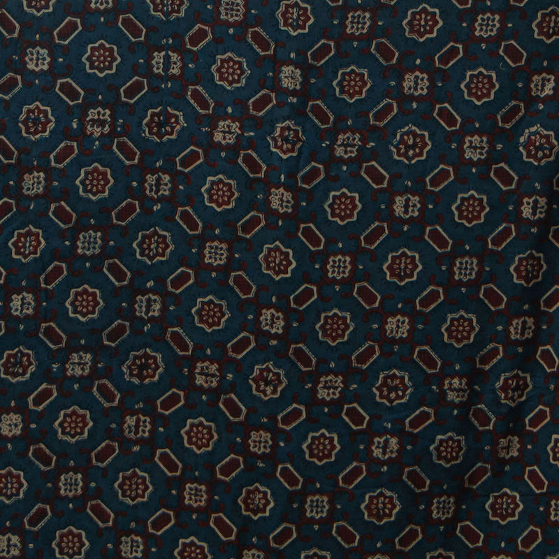Geometric Design Ajrakh Mul Cotton Natural Dyed Fabric