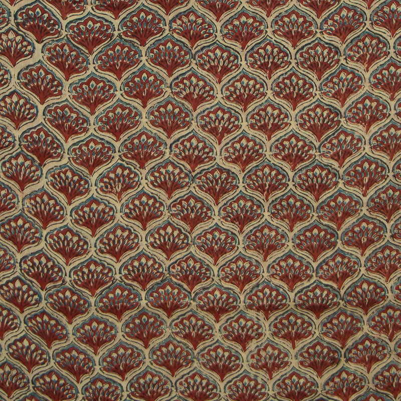 Cream + Red Ajrakh Mul Cotton Natural Dyed Fabric