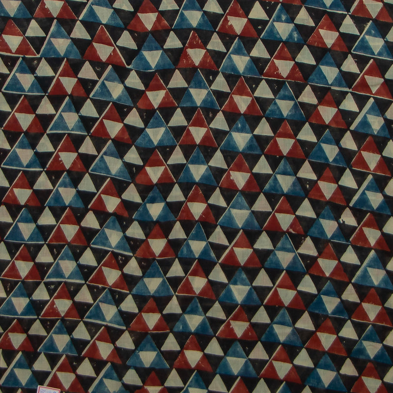 Geometric Ajrakh Mul Cotton Natural Dyed Fabric