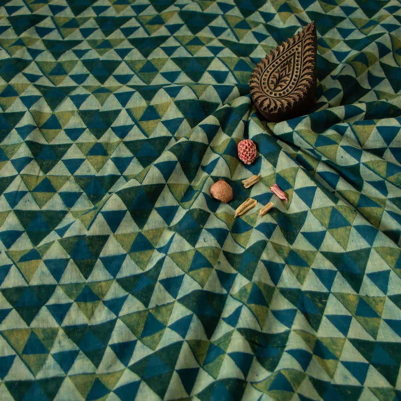 Green Geometric Ajrakh Mul Cotton Natural Dyed Fabric
