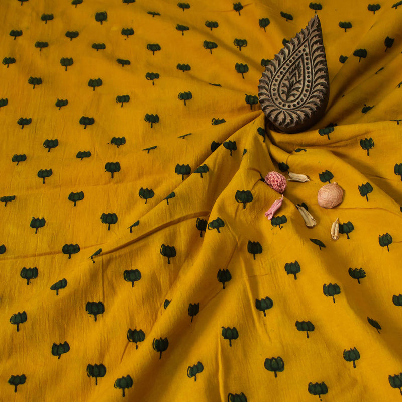 Yellow Ajrakh Cotton Natural Dyed Fabric