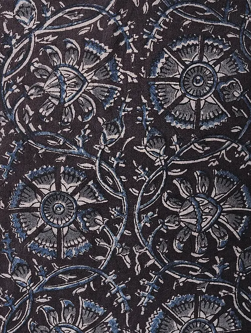 Burgundy-Blue Kalamkari Block Printed Cotton Fabric