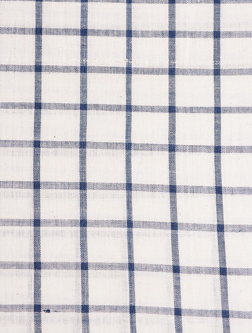 Indigo Checks Handwoven Fabric