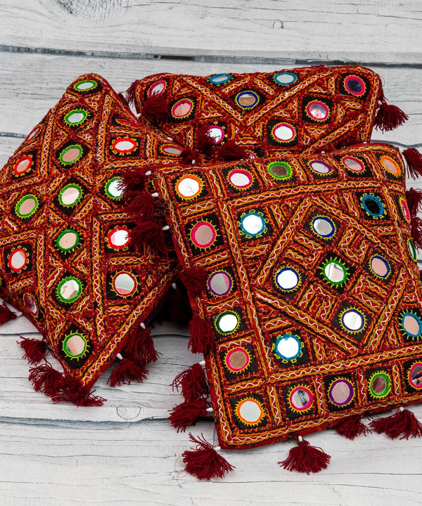 Kutchi Mirror Work Cushion Cover (Set of 5)