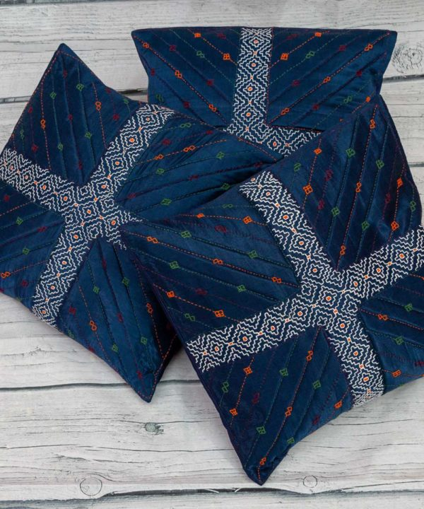 Mashru Indigo Cushion Cover (Set of 5)