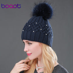 Womens Pretty Design Knit Pom Pom Beanie