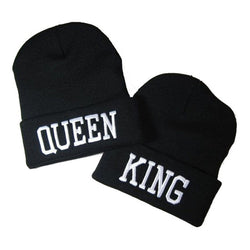 Mens and Womens King and Queen Trendy Beanie
