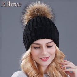 Womens Trendy Mink and Fox Fur Ball Knit Beanie