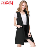 Tangada Fashion Sleeveless Jackets Vests For Women Black 2016 Office Lady Elegant Long Outerwear Casual brand colete feminino