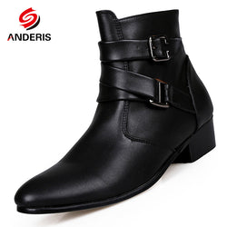 Mens Trendy Ankle Strap Stylish Leather Boots