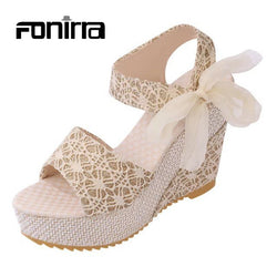 Ladies Sandals Summer Casual Sandals European Style Fashion Print Lace Ribbons Women Sandals Wedges Platform High Heel Shoes 155