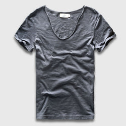 Mens Cool Retro Cotton V Neck T-Shirt Tee