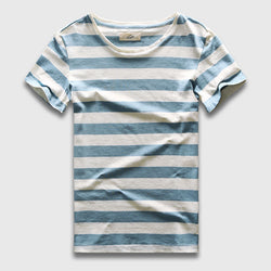 Mens Stylish Stripe Casual T-Shirt Slim Fit Tee