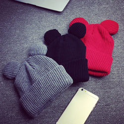 Womens Cute Bear Ear Knit Beanie