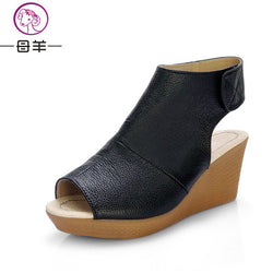 0845f840cd81c MUYANG Chinese Brand Summer Open Toe Shoes Woman Genuine Leather Wedge  Platform Sandals Fashion 2017 Casual