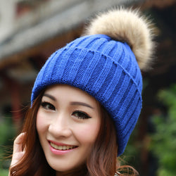 Womens Trendy Knit Rabbit Pom Pom Beanie