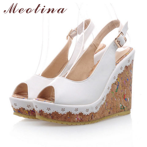 Meotina Shoes Women Sandals Summer Peep Toe Ankle Strap Platform Wedges  Female Bordered White Blue Beige ... 0343686cd1a4