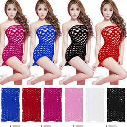 Women Porn Erotic Sexy Lingerie Fishnet Seamless Crotch Mini Dress Body Stocking Nightie Nightdress Nightwear Costume Babydoll
