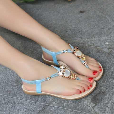89b89fd3193e99 ... 2016 Women Sandals Elastic T-strap Bohemia Beaded Owl Slipper Women  Flat Sandals Women Flip ...