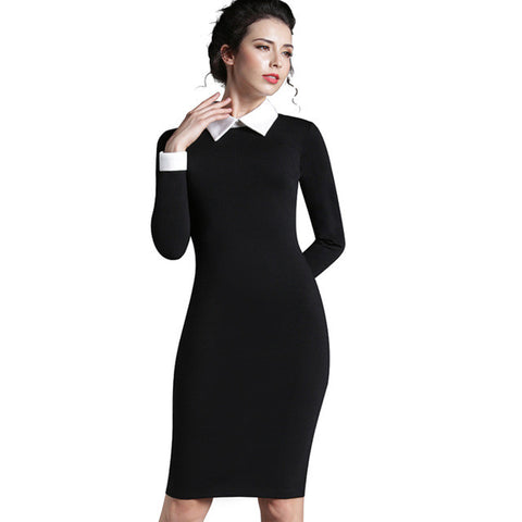 Womens Office Work Vintage Collar Fit Dress