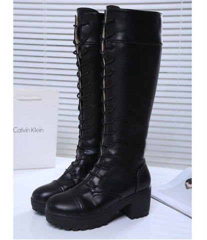 26ee5a7cfa4 Gdgydh Large Size 34-43 Lace Up Knee High Boots Women Autumn Soft Leather  Fashion