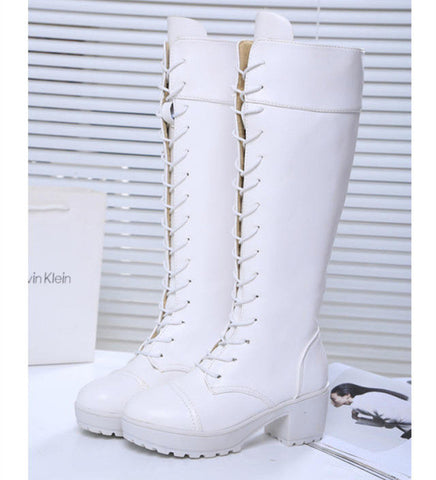 60395a462eb ... Gdgydh Large Size 34-43 Lace Up Knee High Boots Women Autumn Soft  Leather Fashion ...