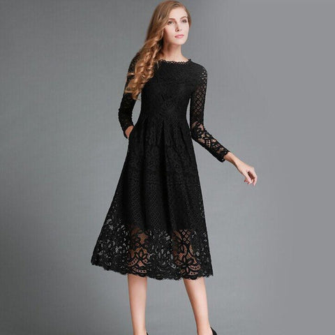 Womens Stylish Hollow Out Elegant Lace Party Dress