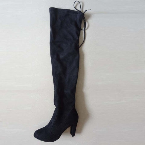 e4b71392cfc Faux Suede Slim Boots Sexy over the knee high women snow boots ...
