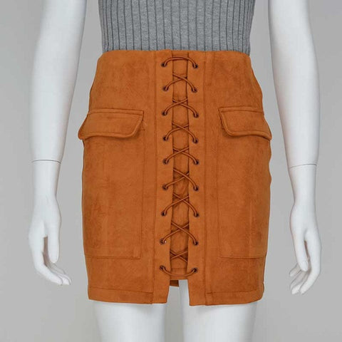 53f78772e6 Smoves Women's Vintage High Waist External Pocket Tight Suede Lace Up Skirt  Autumn Winter Thick Pencil