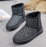 winter waterproof snow boots women warm plush ankle boots pu leather flat heel girls cotton school shoes