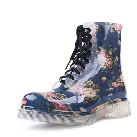 2017 new women Floral Martin rain boots female fashionable short boots slip non-slip comfortable with large size water shoes