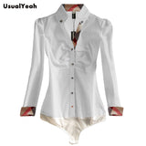 Womens Fashion Casual OL Long Sleeve Button Solid Shirt