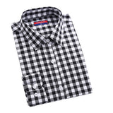 Womens Long Sleeve Collar Turn Down Plaid Cotton Shirt