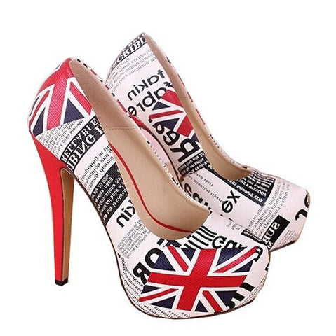 New 2017 Large Size 34~45 Fashion British Flag Sexy 14 cm High Heels Women Pumps Ladies Platform Shoes Woman Chaussure Femme