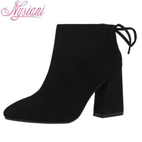 Nysiani Women Boots 2016 High Heels Ankle Boots Short Plush Pointed Toe Motorcycle Boots Fashion Sexy Winter Ankle Boots Heels