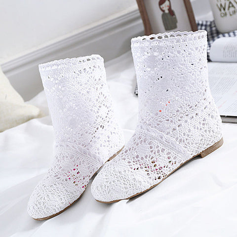 91ea6a47ca2e4 High Quality Breathable Mesh Summer Boots Women Flat Heel Ankle Boots 2017 Summer  Womens Boots Fashion