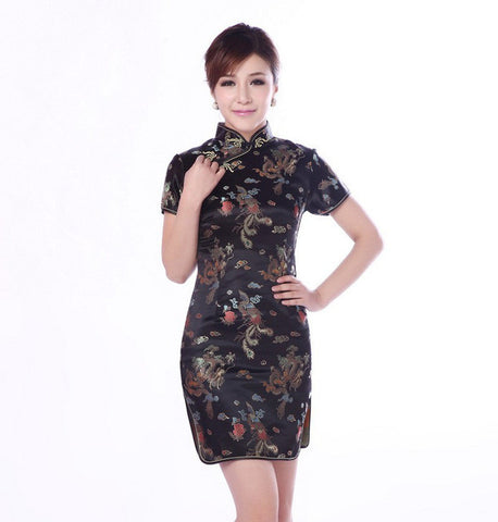Womens Beautiful Traditional Chinese Classic Satin Mini Summer Dress