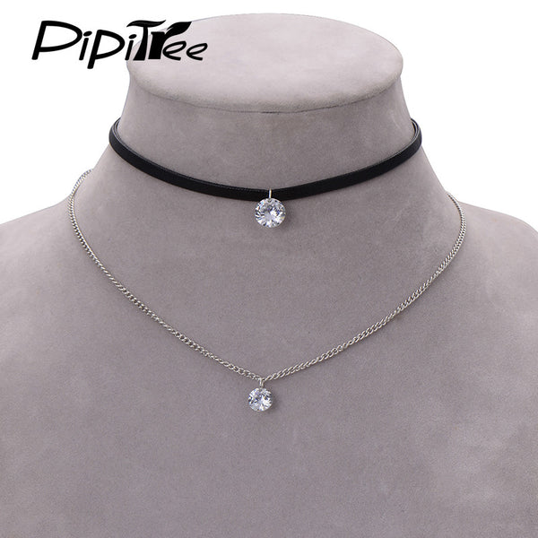 Womens Charming Simple Leather Choker Layer Necklace