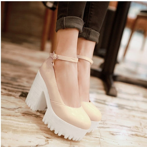 2017 FashionAnkle Strap Platform Shoes High Heel Autumn Spring Pumps For Casual Dress Elegant Wedding shoes