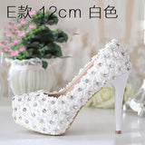 8cm/10cm/12cm/14cm Women Fashion Sweet White Flower Lace Platform High Heels Pearls rhinestone Wedding Shoes Bride Dress Shoes