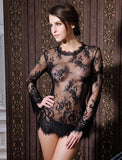 RK80215 Best selling womens sexy dresses erotic black transparent sexy underwear women long sleeve with g string lingerie